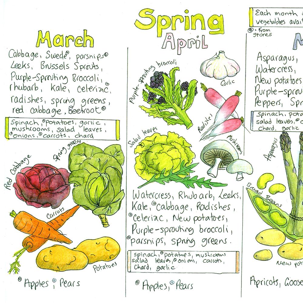 Seasonal Uk Fruit And Vegetable Chart Liz Cook Charts